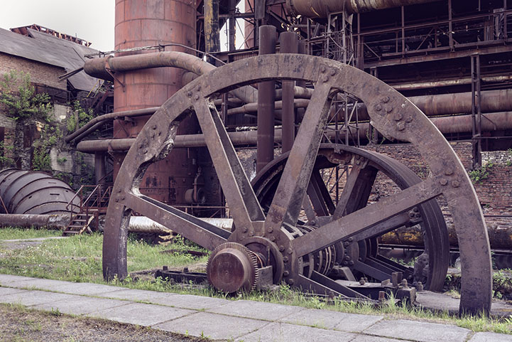 Old wheel sheet bar mill on Mining and metallurgical plant